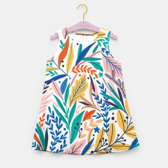 Thumbnail image of Colorful exotic leaves pattern Girl's summer dress, Live Heroes
