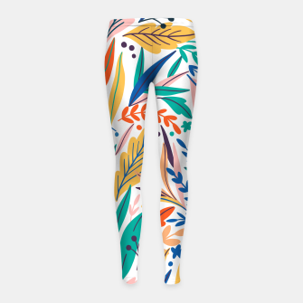 Thumbnail image of Colorful exotic leaves pattern Girl's leggings, Live Heroes