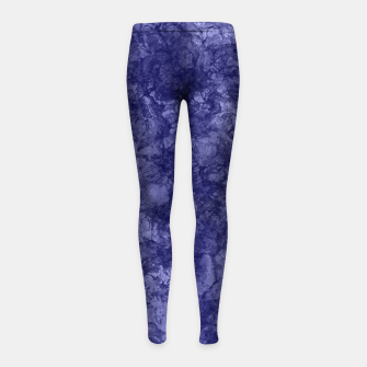 Dark purple violet marble textured suede granite smoke wall stone Girl's leggings thumbnail image