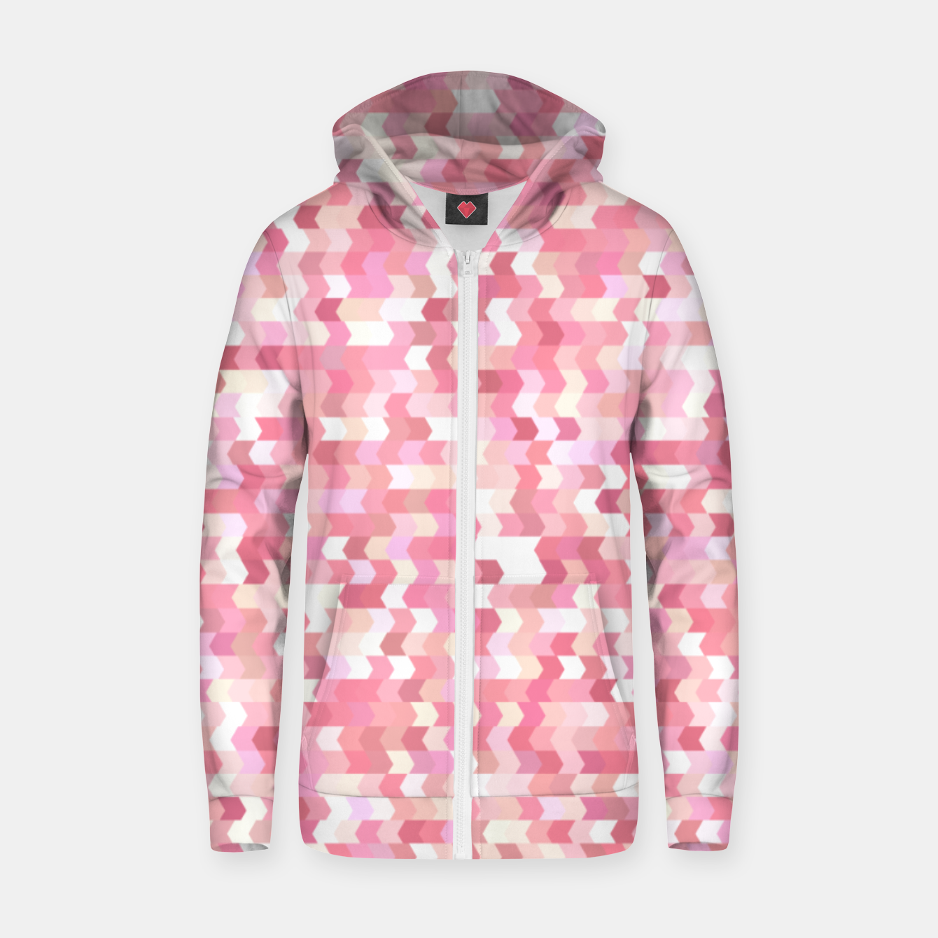 Foto Solid arrows in soft pink shades, cute baby flush pink pattern Zip up hoodie - Live Heroes