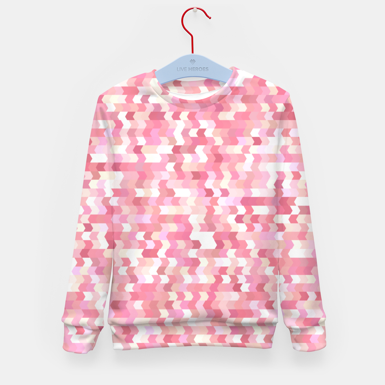 Foto Solid arrows in soft pink shades, cute baby flush pink pattern Kid's sweater - Live Heroes