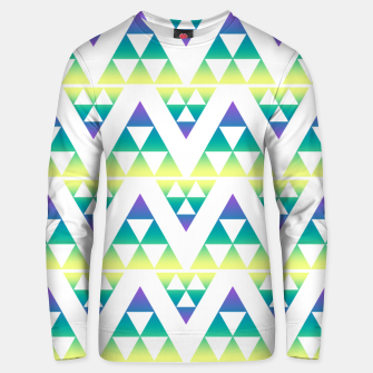 Thumbnail image of Geometric abstract decor triangles shapes colorful blue green summer colors Unisex sweater, Live Heroes