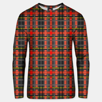 Imagen en miniatura de Gray orange plaid tartan checkered scottish red black Unisex sweater, Live Heroes