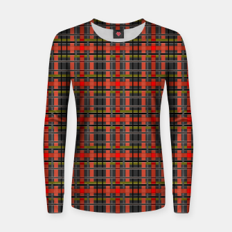 Imagen en miniatura de Gray orange plaid tartan checkered scottish red black Women sweater, Live Heroes