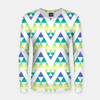 Thumbnail image of Geometric abstract decor triangles shapes colorful blue green summer colors Women sweater, Live Heroes