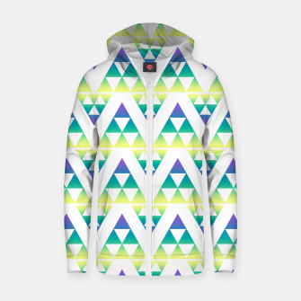 Thumbnail image of Geometric abstract decor triangles shapes colorful blue green summer colors Zip up hoodie, Live Heroes