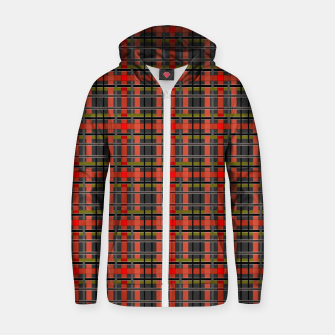 Imagen en miniatura de Gray orange plaid tartan checkered scottish red black Zip up hoodie, Live Heroes
