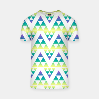Thumbnail image of Geometric abstract decor triangles shapes colorful blue green summer colors T-shirt, Live Heroes