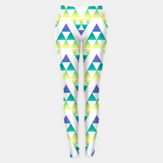 Miniatur Geometric abstract decor triangles shapes colorful blue green summer colors Leggings, Live Heroes