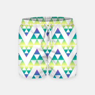 Thumbnail image of Geometric abstract decor triangles shapes colorful blue green summer colors Swim Shorts, Live Heroes