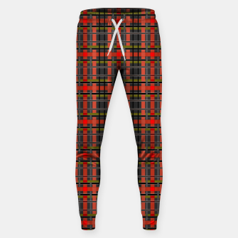 Thumbnail image of Gray orange plaid tartan checkered scottish red black Sweatpants, Live Heroes