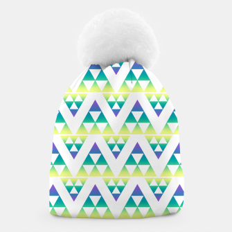 Miniatur Geometric abstract decor triangles shapes colorful blue green summer colors Beanie, Live Heroes