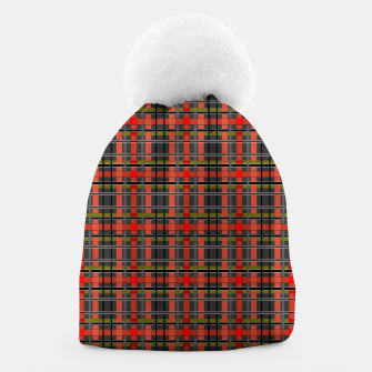 Imagen en miniatura de Gray orange plaid tartan checkered scottish red black Beanie, Live Heroes
