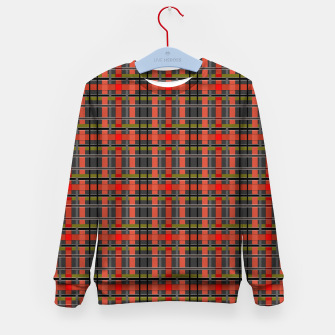 Imagen en miniatura de Gray orange plaid tartan checkered scottish red black Kid's sweater, Live Heroes