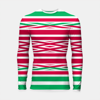 Thumbnail image of Christmas decor red green white ornament decor Longsleeve rashguard , Live Heroes