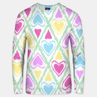 Miniatur Multi Colored hearts ornament pastel kids childish scribble design Unisex sweater, Live Heroes