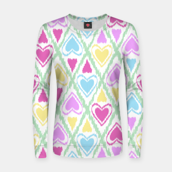 Thumbnail image of Multi Colored hearts ornament pastel kids childish scribble design Women sweater, Live Heroes