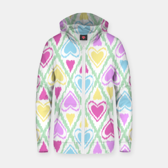 Miniatur Multi Colored hearts ornament pastel kids childish scribble design Zip up hoodie, Live Heroes