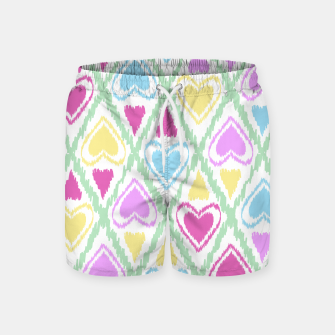 Thumbnail image of Multi Colored hearts ornament pastel kids childish scribble design Swim Shorts, Live Heroes