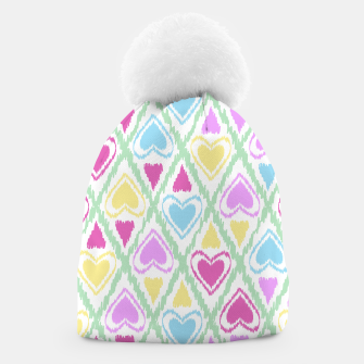 Thumbnail image of Multi Colored hearts ornament pastel kids childish scribble design Beanie, Live Heroes