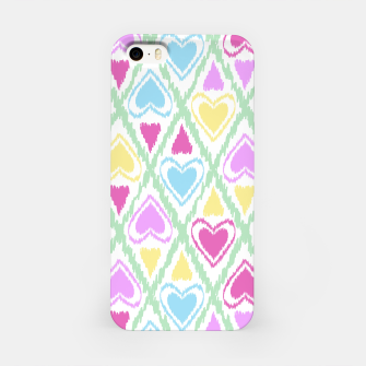 Miniaturka Multi Colored hearts ornament pastel kids childish scribble design iPhone Case, Live Heroes