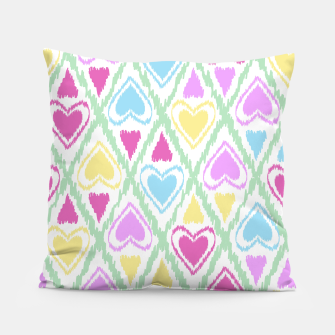 Thumbnail image of Multi Colored hearts ornament pastel kids childish scribble design Pillow, Live Heroes