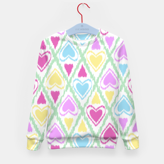 Thumbnail image of Multi Colored hearts ornament pastel kids childish scribble design Kid's sweater, Live Heroes