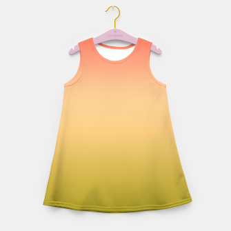 Miniature de image de Coral olive Ombre gradient summer mango green tropical colors Girl's summer dress, Live Heroes
