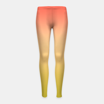 Miniature de image de Coral olive Ombre gradient summer mango green tropical colors Girl's leggings, Live Heroes