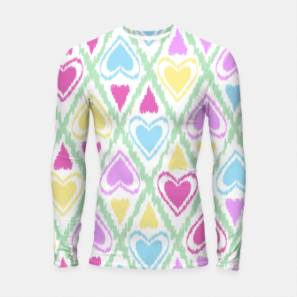 Thumbnail image of Multi Colored hearts ornament pastel kids childish scribble design Longsleeve rashguard , Live Heroes