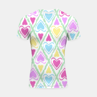 Thumbnail image of Multi Colored hearts ornament pastel kids childish scribble design Shortsleeve rashguard, Live Heroes