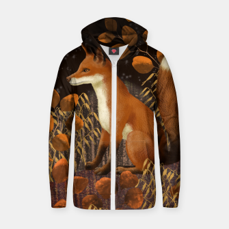 Thumbnail image of Fox under a Starry Night Zip up hoodie, Live Heroes