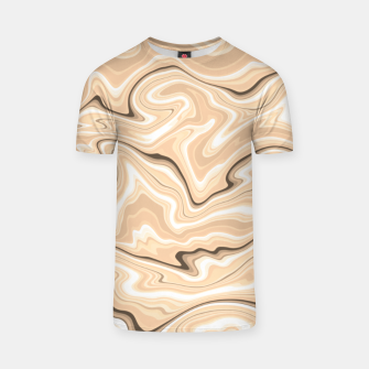 Thumbnail image of Cappuccino marble stone pattern, abstract soft coffee shades illustration T-shirt, Live Heroes