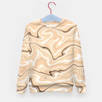 Thumbnail image of Cappuccino marble stone pattern, abstract soft coffee shades illustration Kid's sweater, Live Heroes