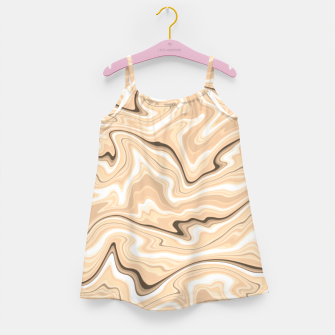 Thumbnail image of Cappuccino marble stone pattern, abstract soft coffee shades illustration Girl's dress, Live Heroes