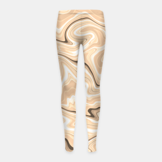 Thumbnail image of Cappuccino marble stone pattern, abstract soft coffee shades illustration Girl's leggings, Live Heroes