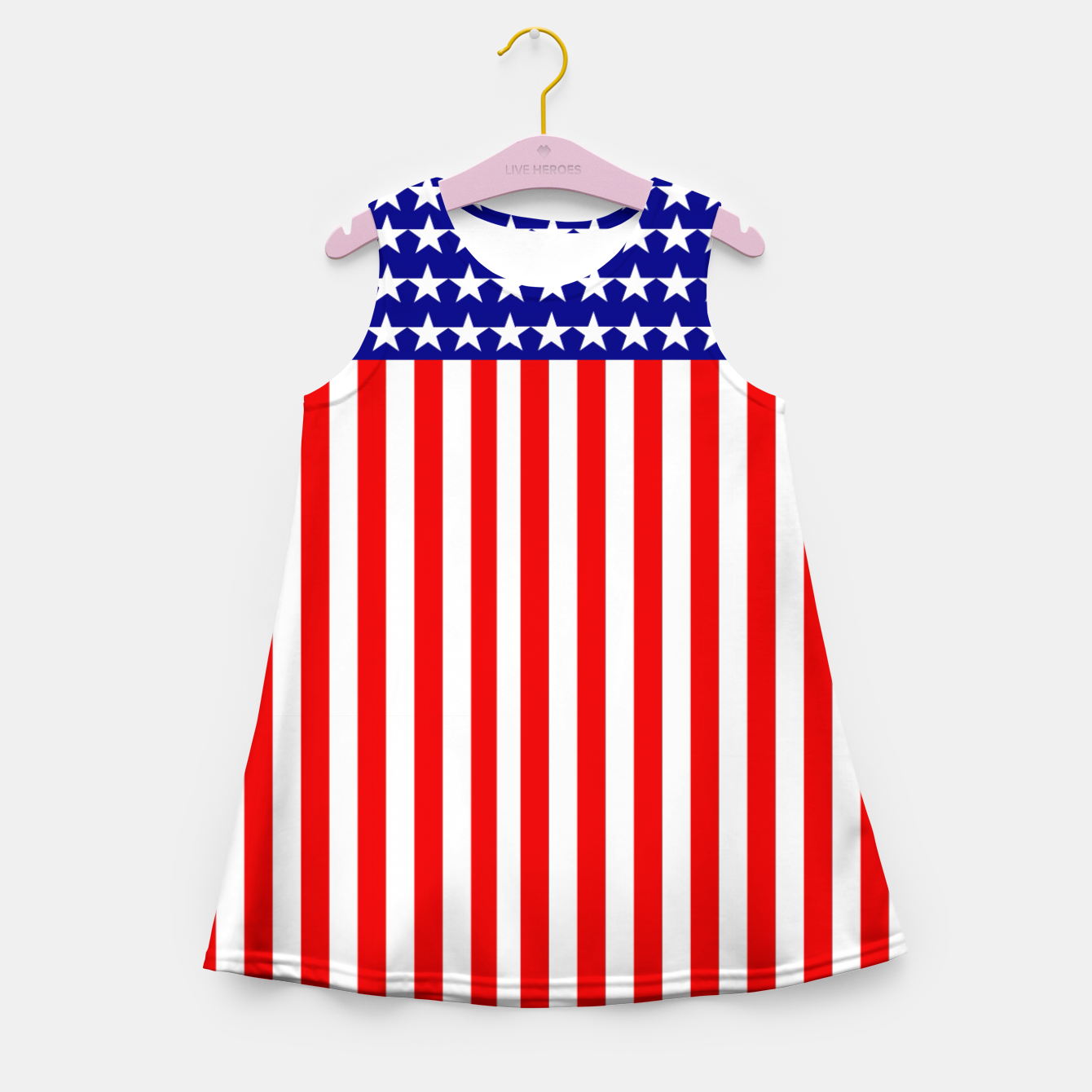 Image of Patriotic USA Stars and Stripes Girl's summer dress - Live Heroes