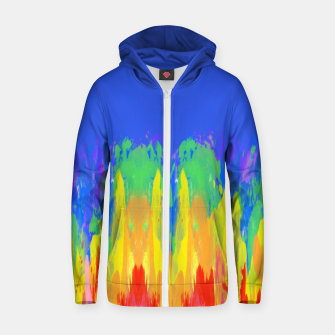Thumbnail image of Flames Paint Abstract Blue Zip up hoodie, Live Heroes