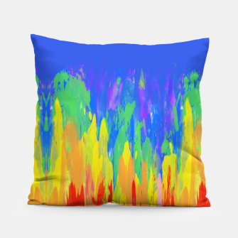 Thumbnail image of Flames Paint Abstract Blue Pillow, Live Heroes