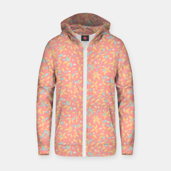 Thumbnail image of The wall of orange buds and blossoms in pink Zip up hoodie, Live Heroes
