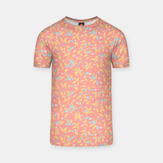 Thumbnail image of The wall of orange buds and blossoms in pink T-shirt, Live Heroes