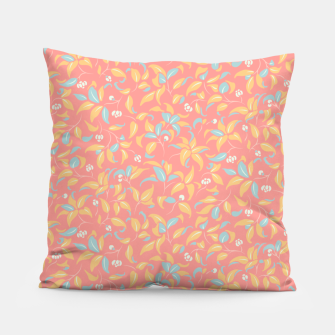 Thumbnail image of The wall of orange buds and blossoms in pink Pillow, Live Heroes