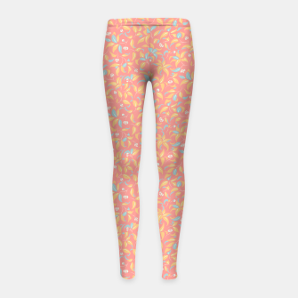 Thumbnail image of The wall of orange buds and blossoms in pink Girl's leggings, Live Heroes