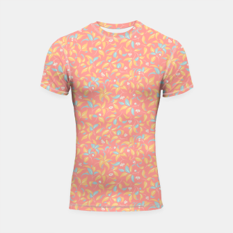 Thumbnail image of The wall of orange buds and blossoms in pink Shortsleeve rashguard, Live Heroes