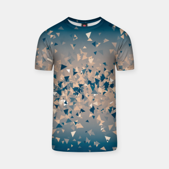 Thumbnail image of Star explosion, abstract outer space illustration in classic ink blue and coral pink T-shirt, Live Heroes