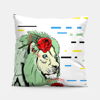 Miniatur Green lion Pillow, Live Heroes