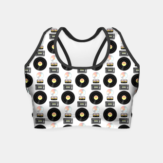Miniatur Vinyl Record Retro tech pattern Crop Top, Live Heroes