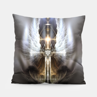 Miniaturka Heavenly Angel Wing Cross Vintage Satin Fractal Art Composition Pillow, Live Heroes