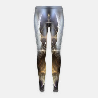Miniaturka Heavenly Angel Wing Cross Vintage Satin Fractal Art Composition Girl's leggings, Live Heroes