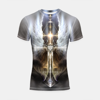 Miniaturka Heavenly Angel Wing Cross Vintage Satin Fractal Art Composition Shortsleeve rashguard, Live Heroes